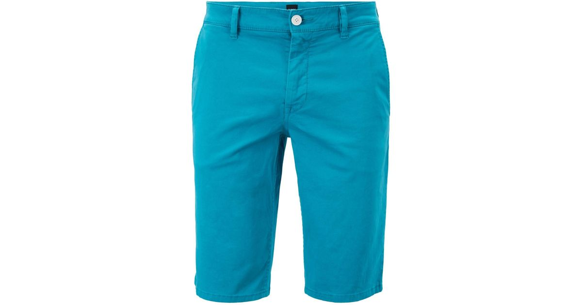10dde4a66 BOSS Slim-fit Chino Shorts In Double-dyed Stretch Satin in Blue for Men -  Lyst