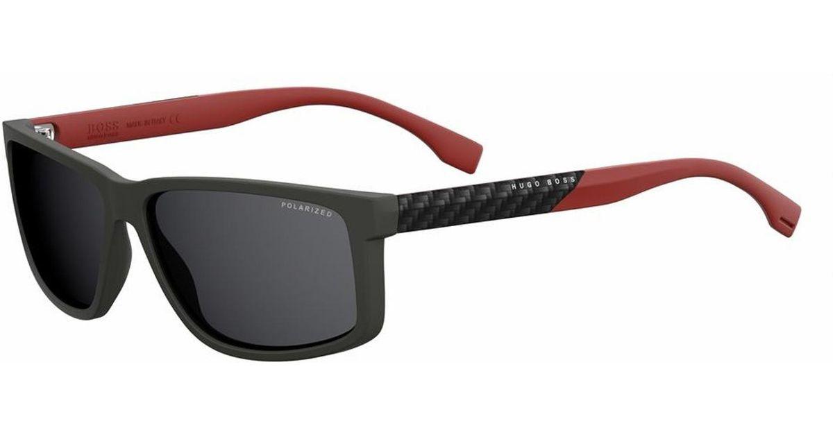 a6624714ed2f BOSS Rectangular Black Lens Carbon Fiber Sunglasses | 0833s in Black - Lyst