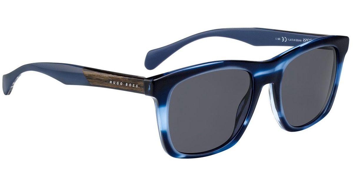 Boss Sunglasses With Coloured Horn-effect Frames in Blue for Men - Lyst