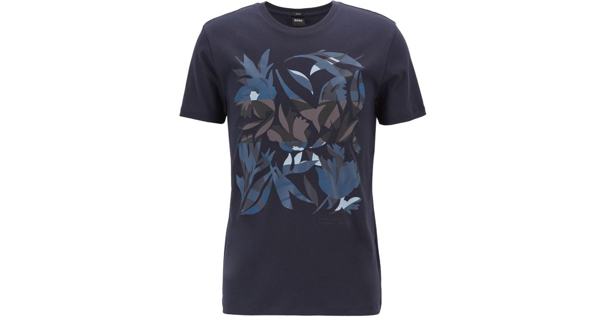 692c58d39 BOSS Slim-fit T-shirt In Cotton With 3d-effect Print in Blue for Men - Lyst