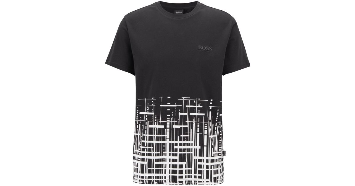 33a3aec1e329 BOSS Slim-fit Beach T-shirt In Cotton With Upf +50 in Black for Men - Lyst