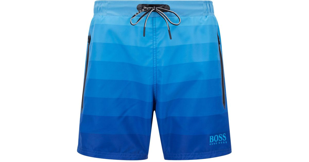 95fc4aaa BOSS Quick-dry Swim Shorts With Dégradé Print And Zippered Pockets in Blue  for Men - Lyst