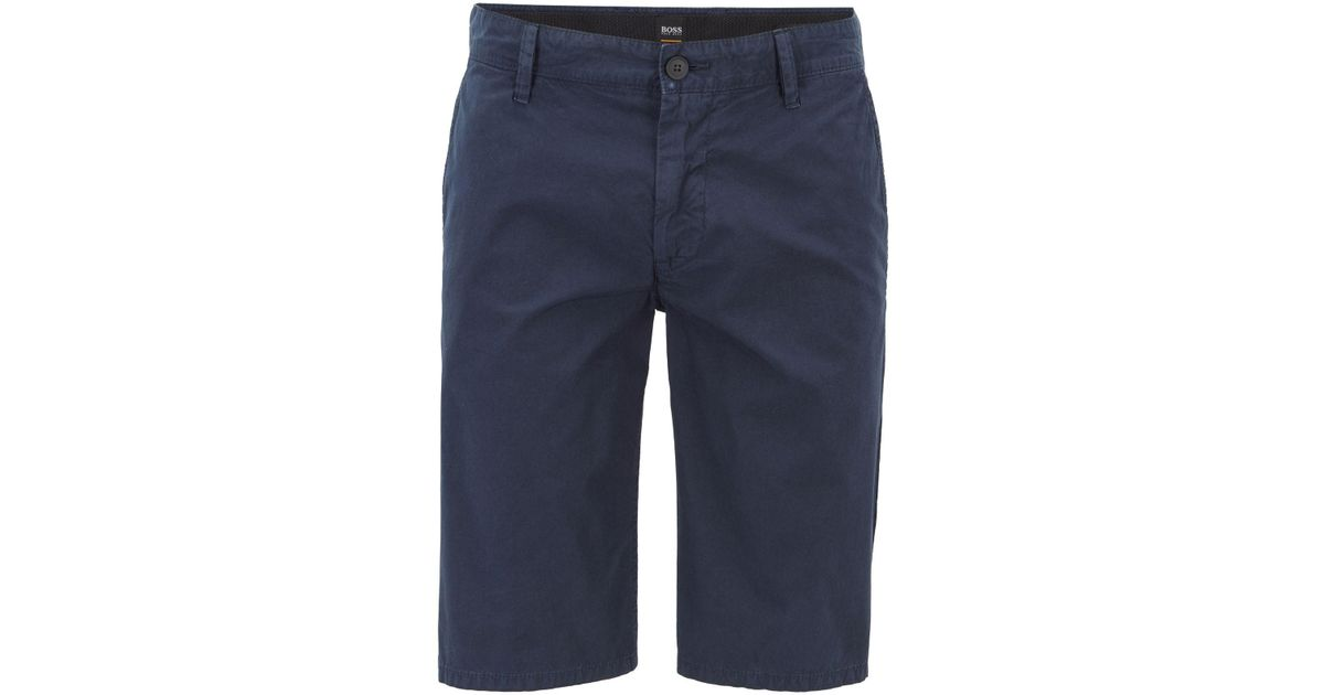 0acd23d5 BOSS Regular-fit Reactive-dyed Shorts In Pure Cotton in Blue for Men - Lyst