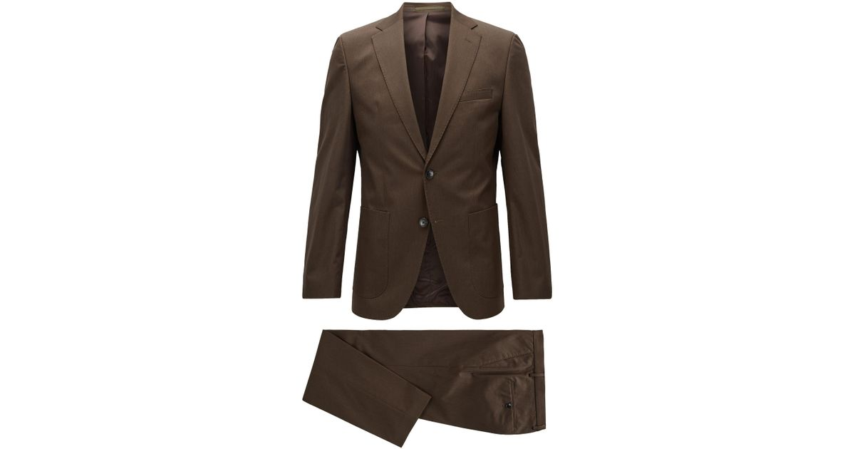 4a9c5d56 BOSS Heathered Stretch Cotton Suit, Regular Fit | Jalston/lenon in Green  for Men - Lyst