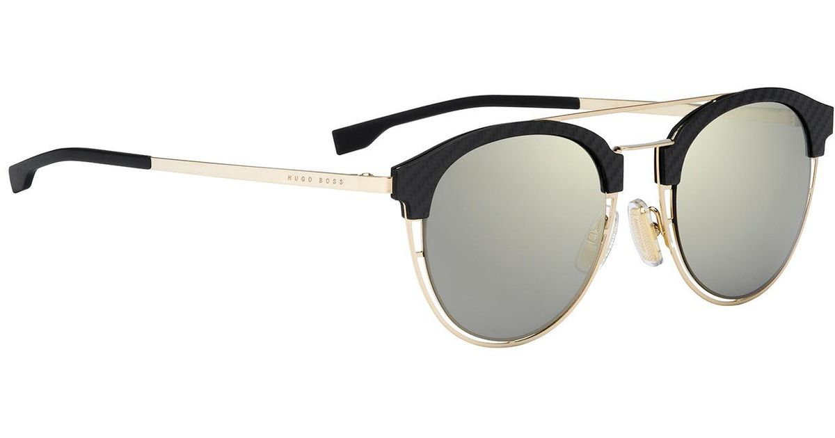 Boss Gold-coloured Sunglasses With Carbon Fibre Trim On The Frames ...