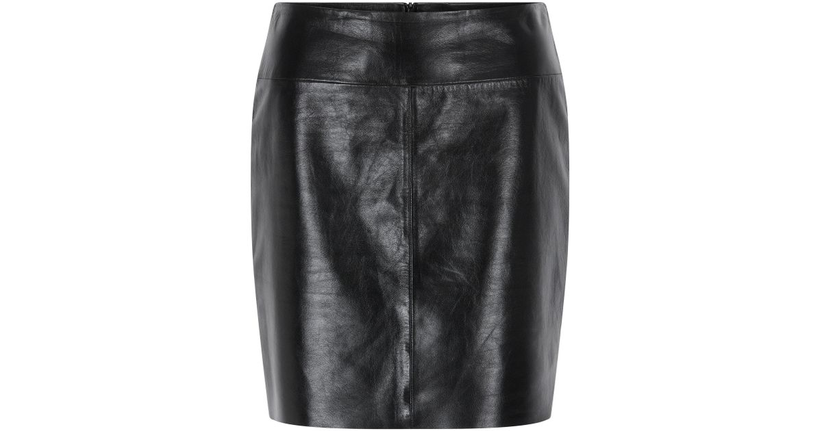 7a78b42e96 Hugo Regular-fit Pencil Skirt In Lacquered Leather in Black - Lyst