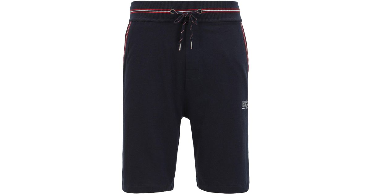 4afb9ddc4 BOSS Single-jersey Loungewear Shorts With Drawstring Waist in Blue for Men  - Lyst