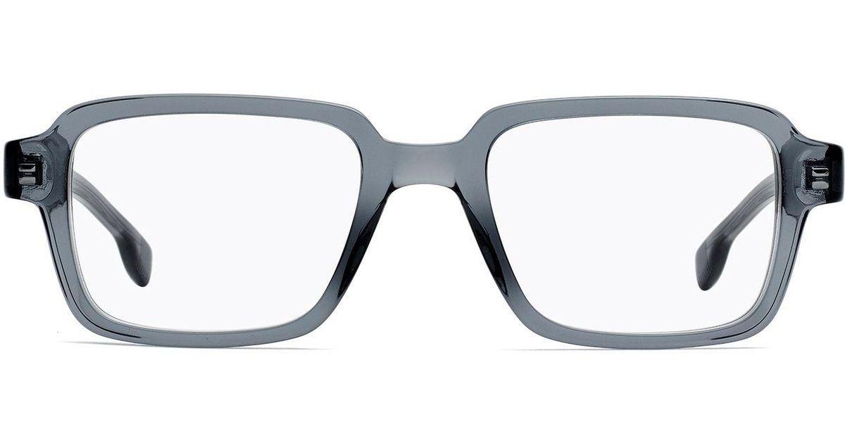 21b871d84d BOSS Retro-inspired Glasses In Transparent Grey Acetate in Gray for Men -  Lyst