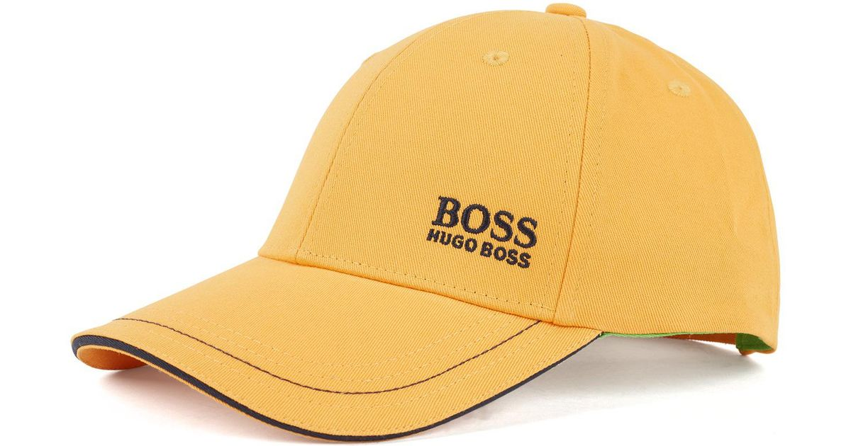 63b811396 BOSS Baseball Cap In Cotton Twill With Embroidered Logo in Yellow for Men -  Lyst