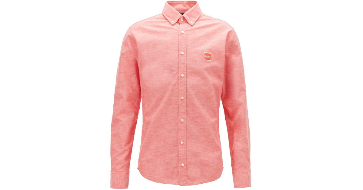 333c9f5cd BOSS Slim-fit Shirt In Oxford Cotton With Logo Patch in Orange for Men -  Lyst