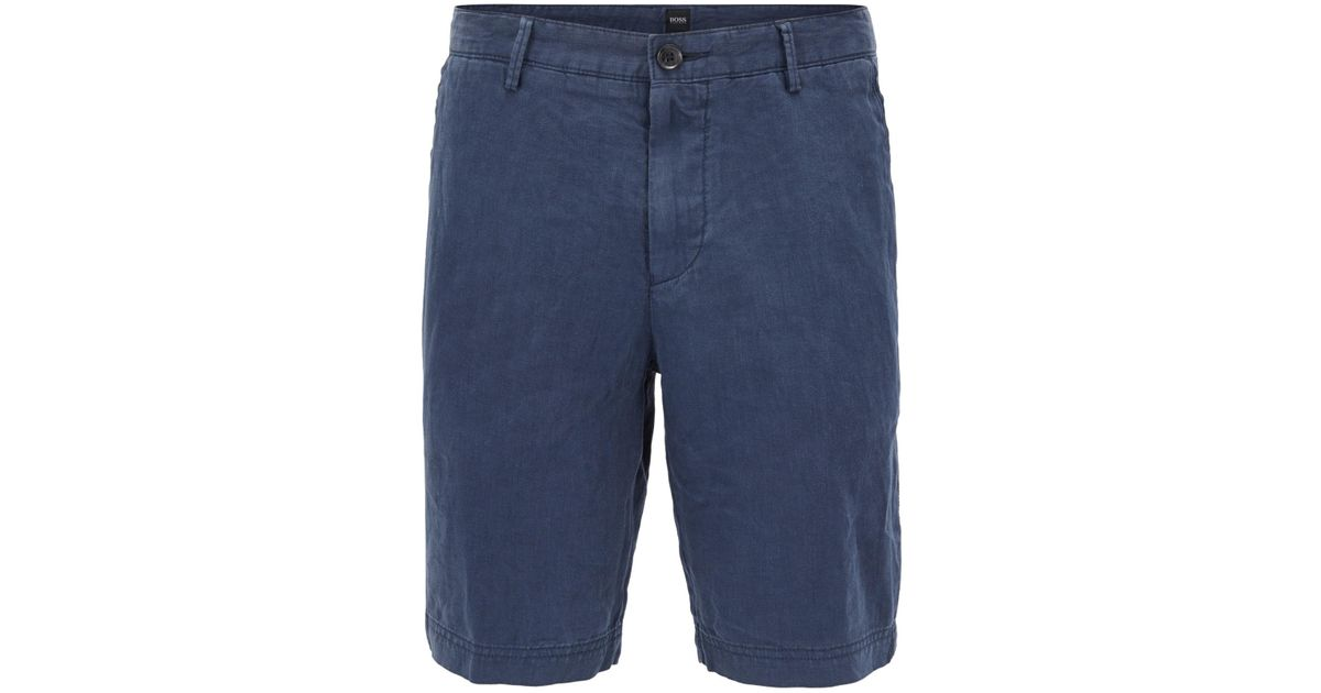 2737a495 BOSS Regular-fit Shorts In Pure Linen in Blue for Men - Lyst
