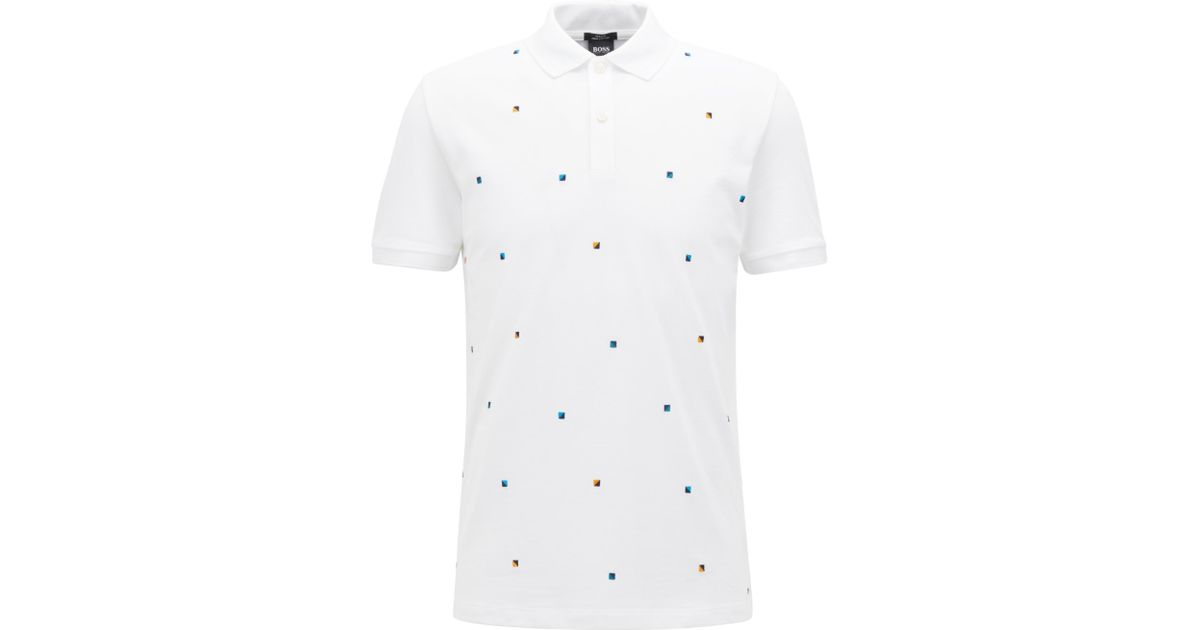 ba1554a0a BOSS Slim-fit Polo Shirt In Cotton With Multicoloured Embroidery in White  for Men - Lyst