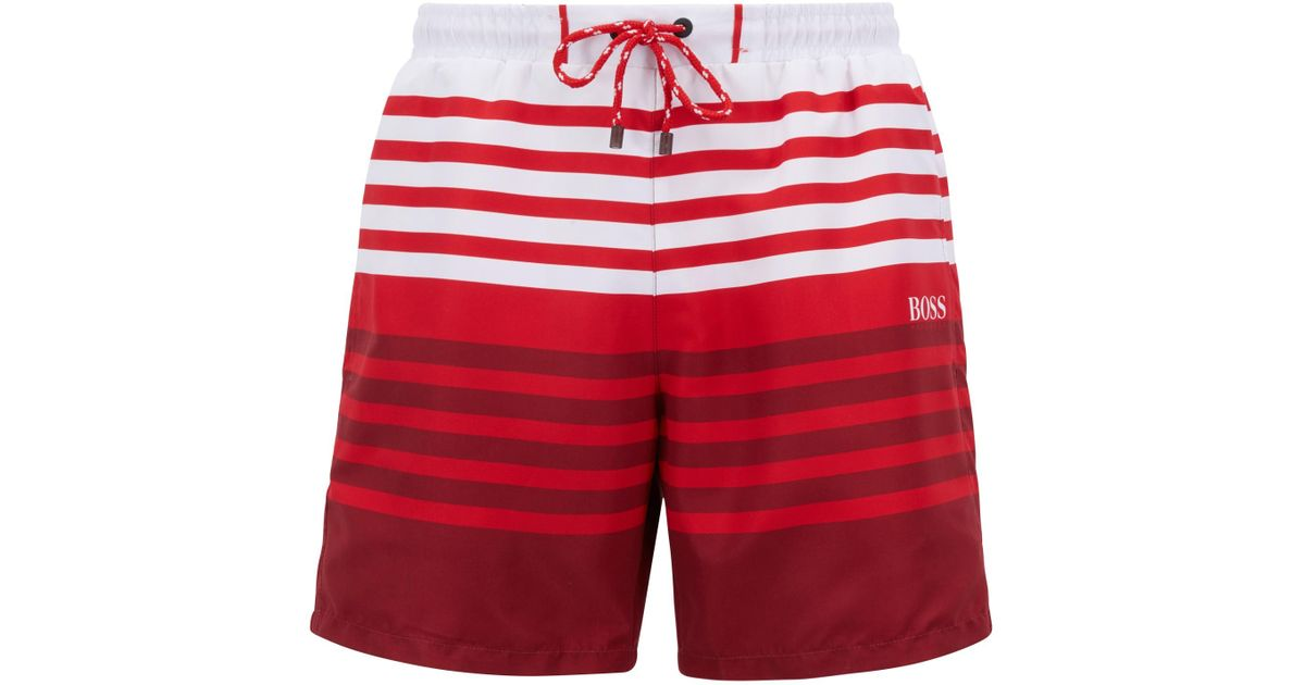 ffcc9a9869d54 Lyst - BOSS Sandfish Striped Swim Trunk in Red for Men - Save 51%