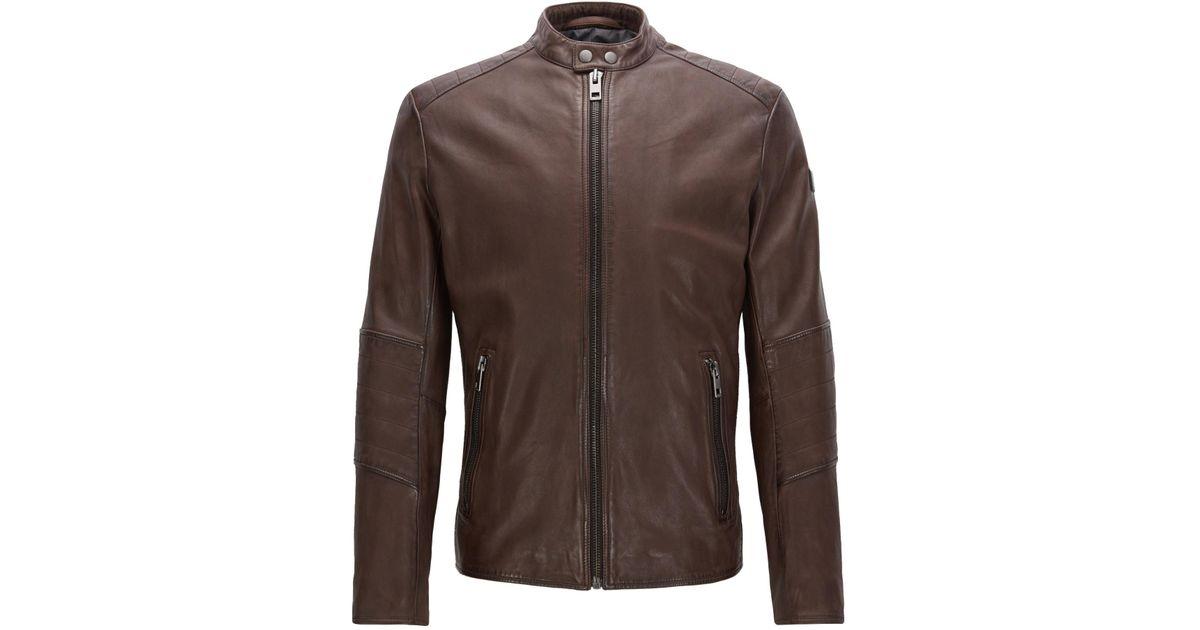 f11302200cf Lyst - BOSS Orange Sheepskin Biker Jacket