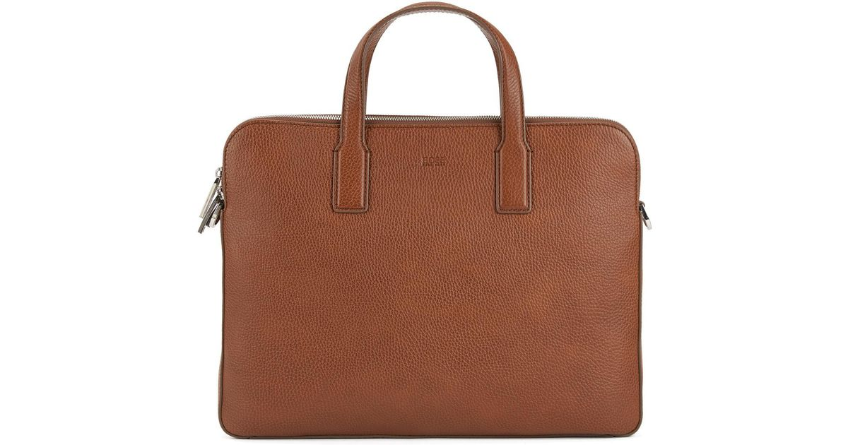 d2bc9641f9a3 Lyst - BOSS Double Document Case In Grainy Italian Leather in Brown for Men