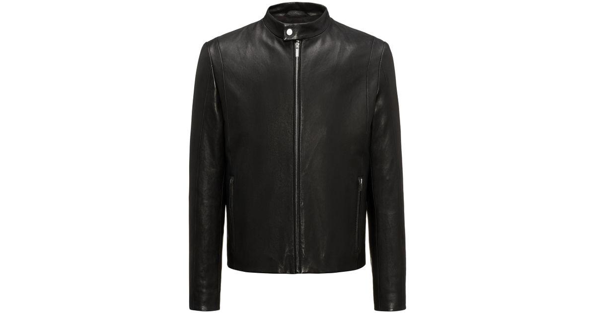 df00a3ee0 HUGO - Black Streamlined Lambskin Nappa Leather Jacket In A Slim Fit for  Men - Lyst