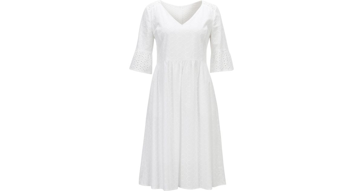 Cotton-voile waisted dress in broderie anglaise BOSS PMYKfqan