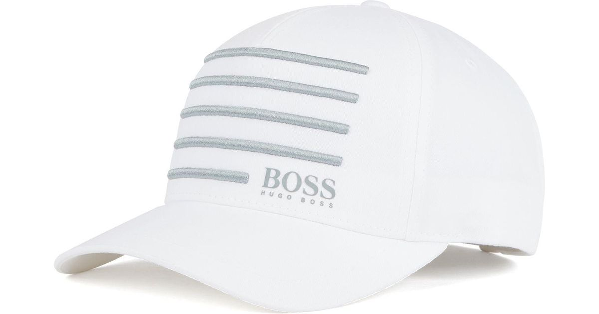 9d59679e BOSS Cap With 3d Embroidered Stripes in White for Men - Lyst