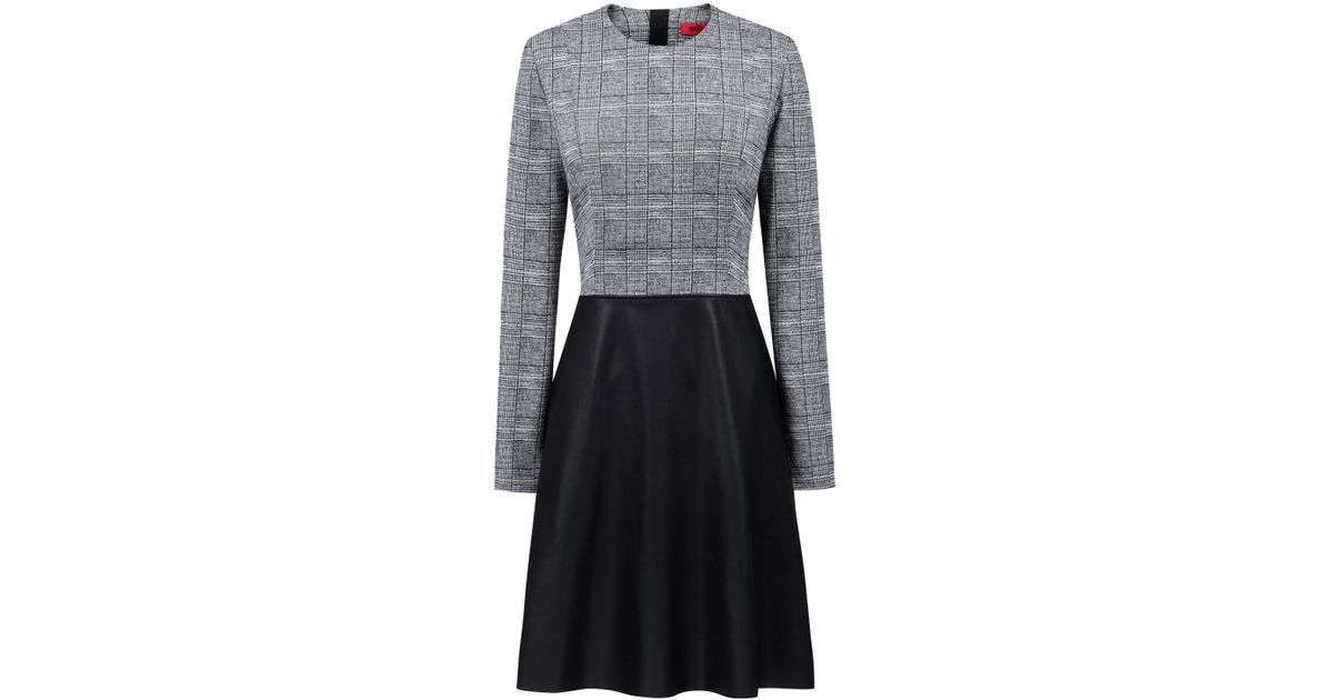 d84b31466e Lyst - HUGO Long-sleeved Dress With Faux-leather Flared Skirt in Black