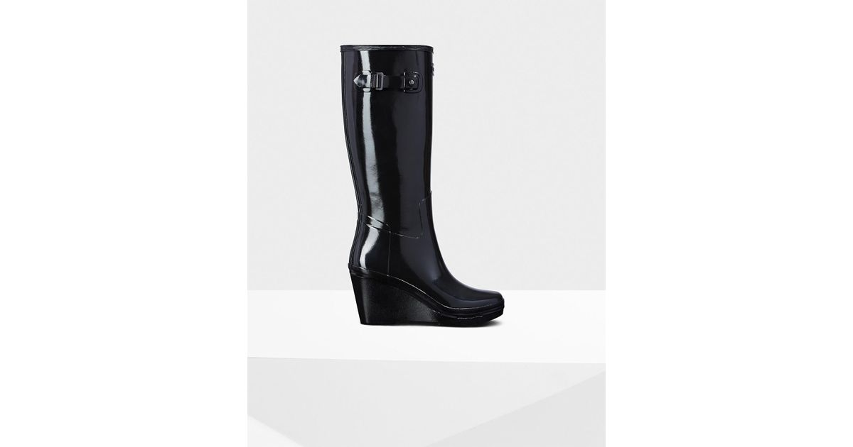 46723ee83bc Hunter - Black Refined Slim Fit Wedge Gloss Rain Boots - Lyst