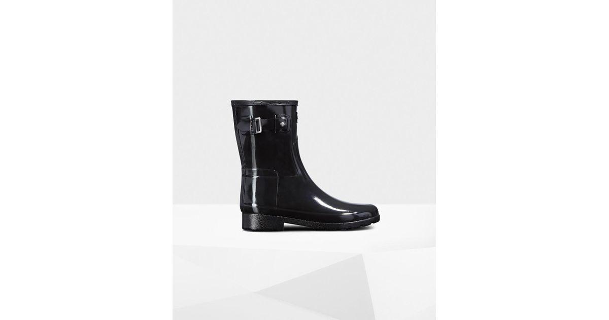 121173ee5e8d Lyst - HUNTER Original Leopard Print Lining Refined Short Rain Boots in  Black
