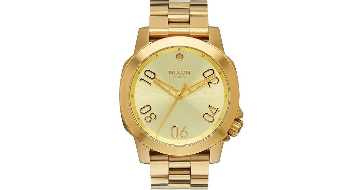 nixon all gold ranger 40 in metallic for lyst