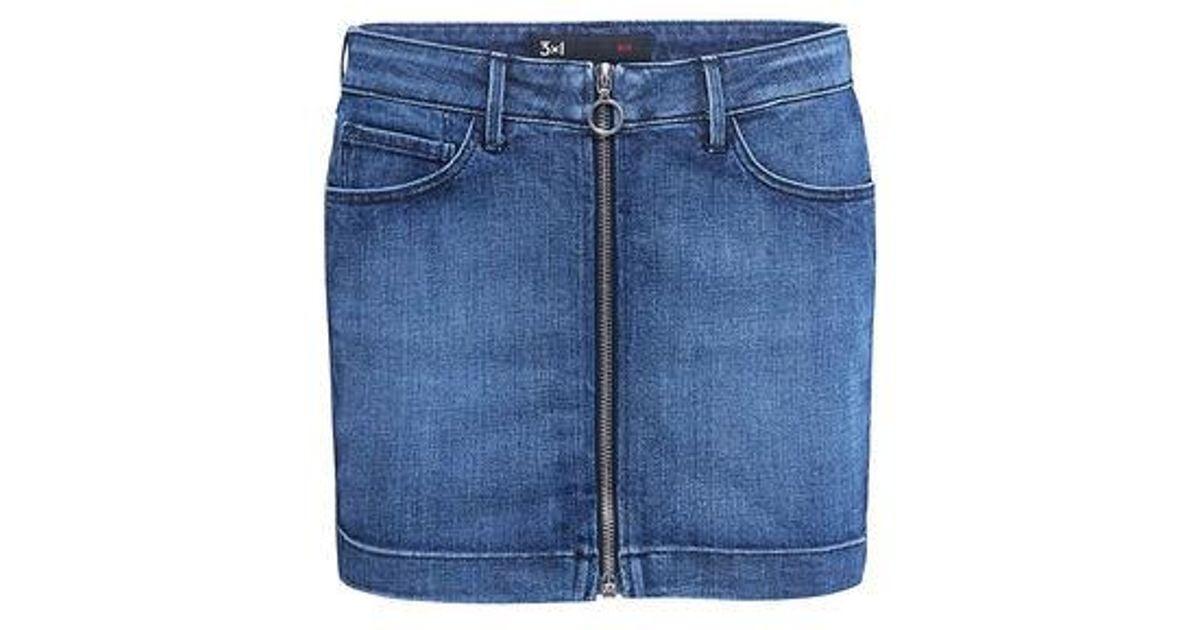 962709a61 Lyst - 3x1 Zip Front Micro Denim Mini Skirt in Blue