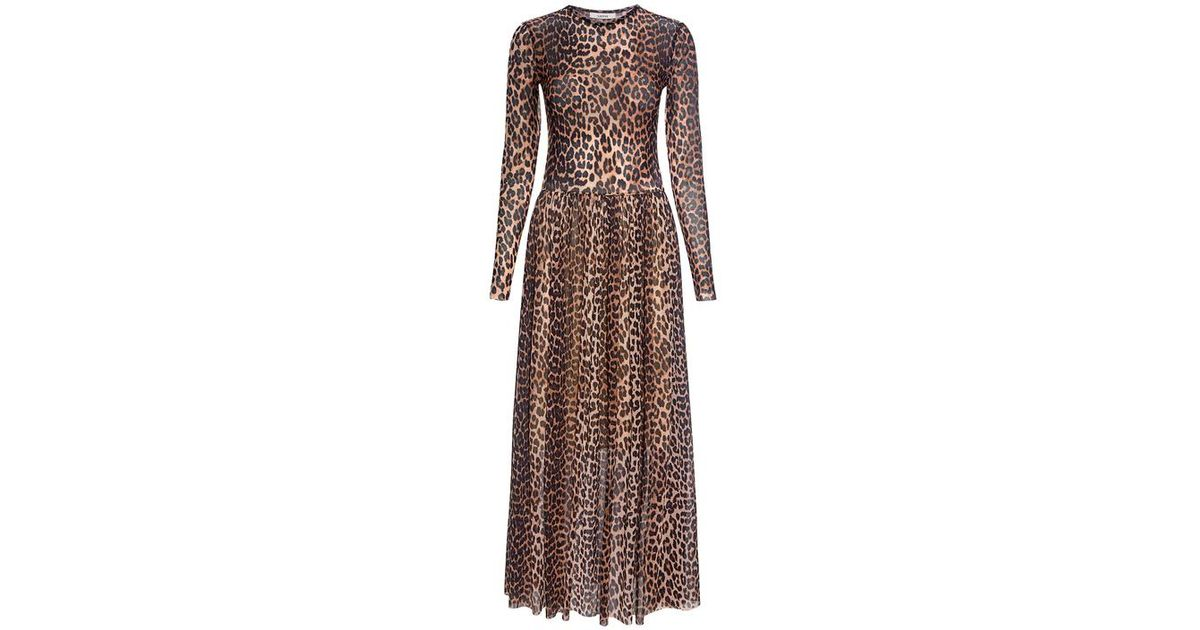 bb19a25045b5 Ganni Tilden Leopard Mesh Maxi Dress - Lyst