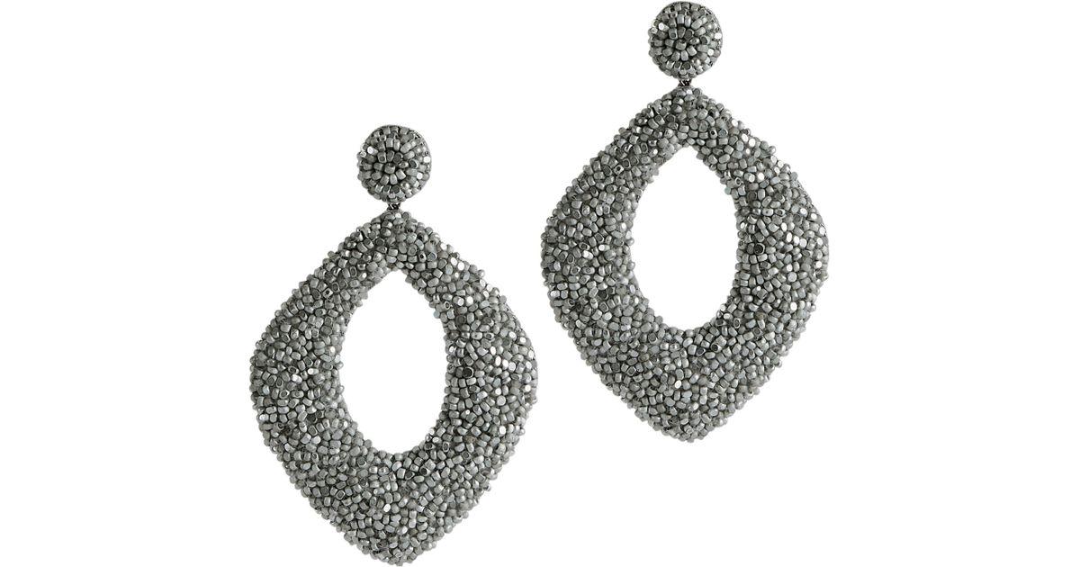 01bbd1165 Deepa Gurnani Erté Gunmetal Earrings in Metallic - Lyst