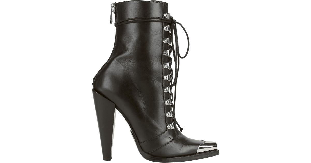 14011b7dd2e Lyst - Balmain Calamity Lace-up Booties in Black