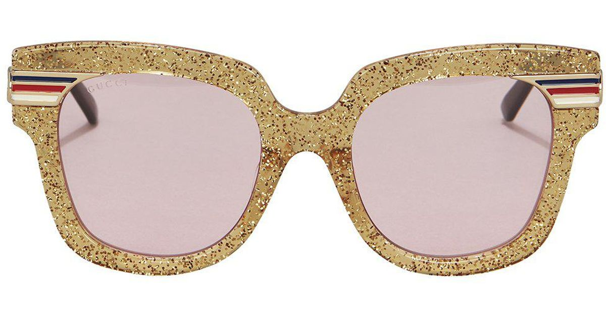 9470c877504 Lyst - Gucci Gold Glitter Pink Lens Sunglasses in Metallic