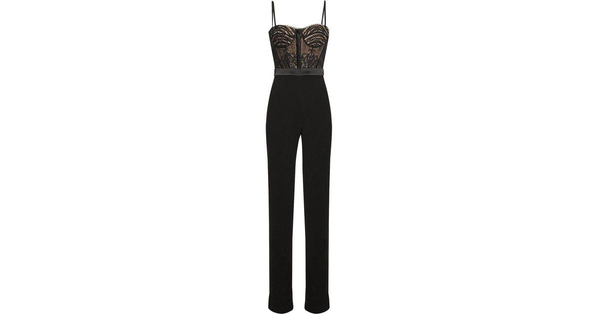 d5d689906b92 Lyst - Jonathan Simkhai Bustier Lace Jumpsuit in Black