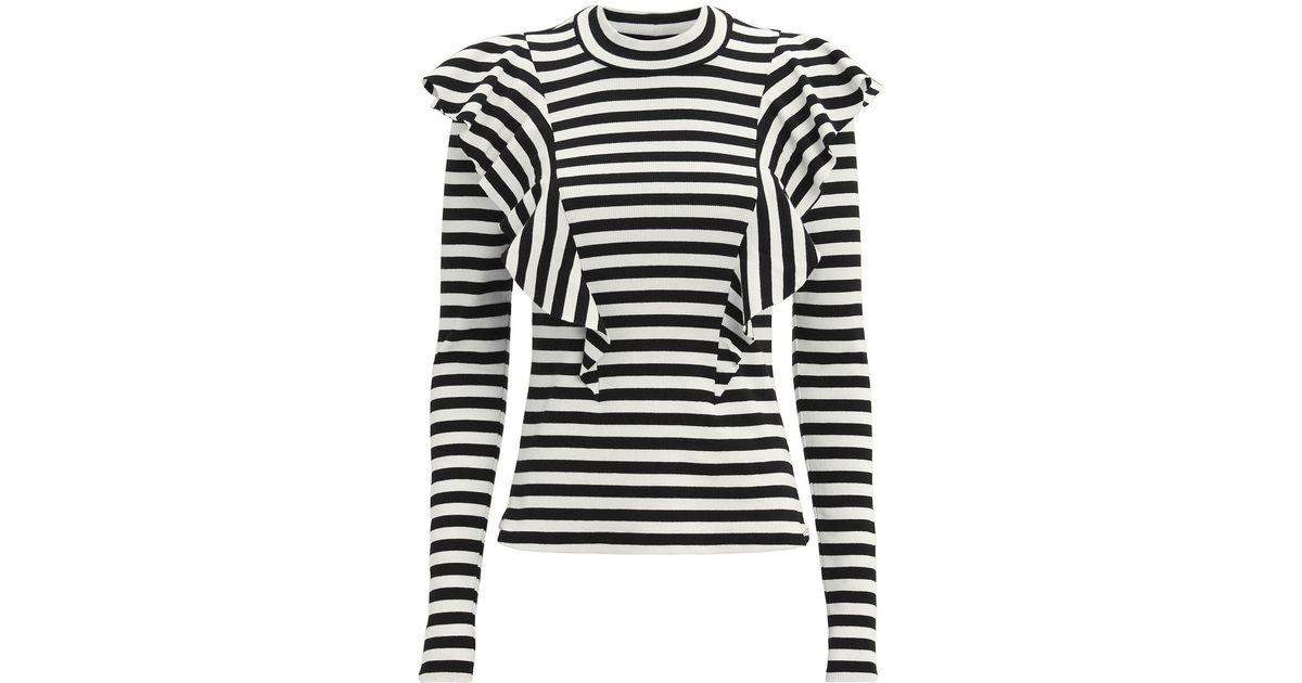 Lyst - Veronica Beard Dawson Striped Ruffle Knit Top in Black fd246b6f9
