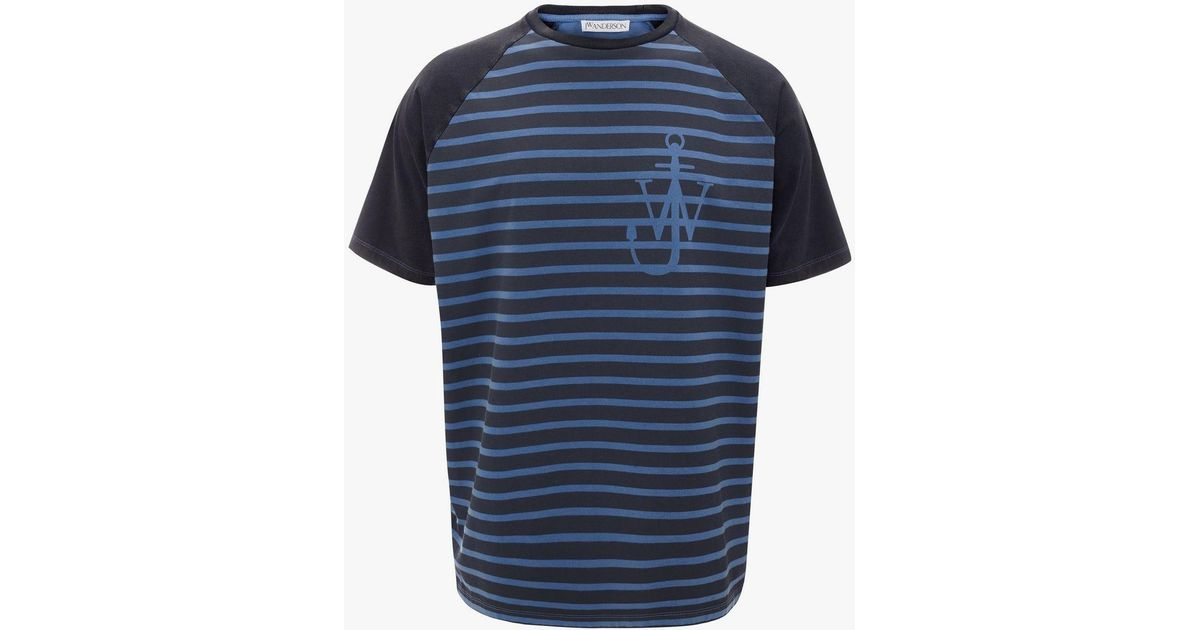 4da98ecdb Lyst - JW Anderson Indigo Jwa Anchor And Stripes Short Sleeve Raglan T-shirt  in Blue for Men