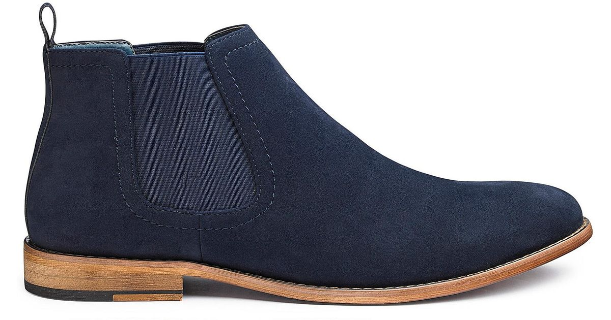 8cfadeadd Jacamo Nubuck Effect Chelsea Boots Wide Fit in Blue for Men - Lyst