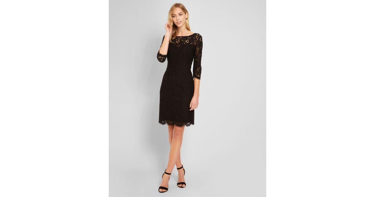 Lyst Jaeger Lace Dress In Black