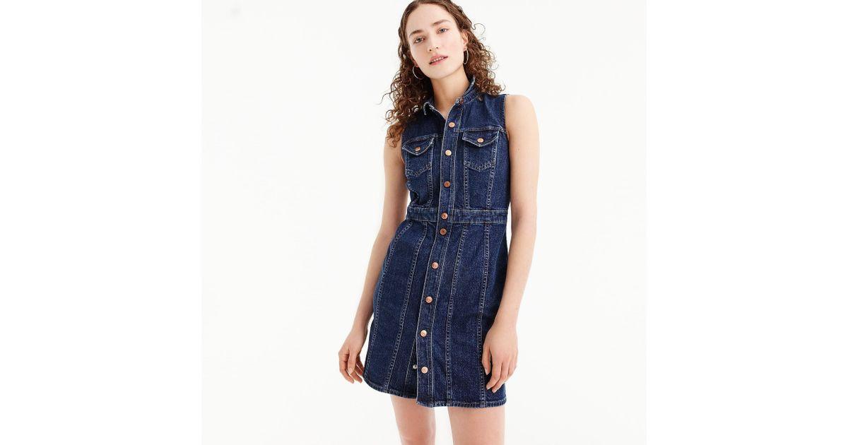 92337ed0bd Lyst - J.Crew Sleeveless Denim Mini Dress in Blue