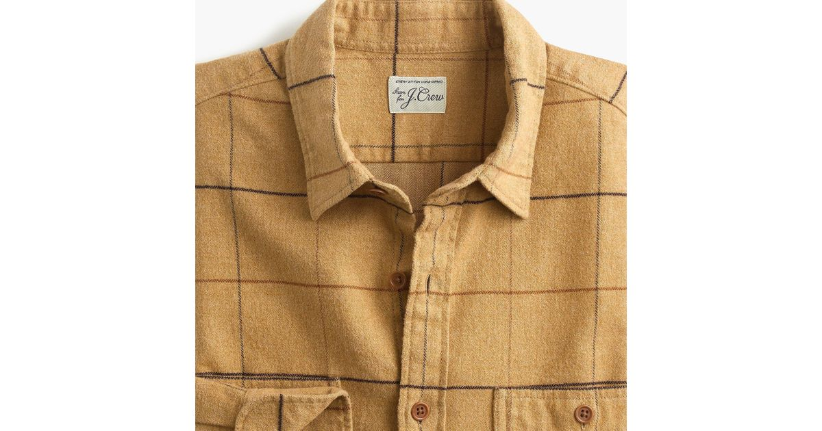 c5648f3dd2d8 Lyst - J.Crew Midweight Herringbone Flannel Shirt In Tattersall in Brown  for Men