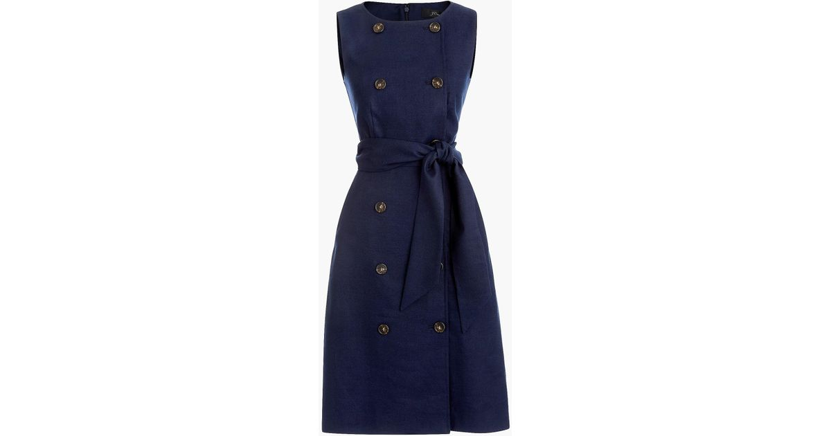 49884b1d0b J.Crew Tall Double-breasted Sleeveless Sheath Dress In Stretch Linen) in  Blue - Lyst