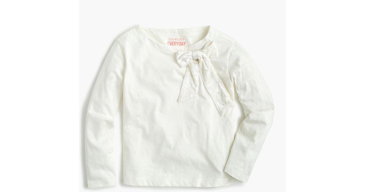 9968365008c Lyst - J.Crew Girls' Long-sleeve T-shirt With Velvet Bow in White