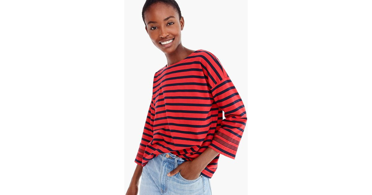 b099a75757423 Lyst - J.Crew Striped Tee With Grosgrain Trim in Red