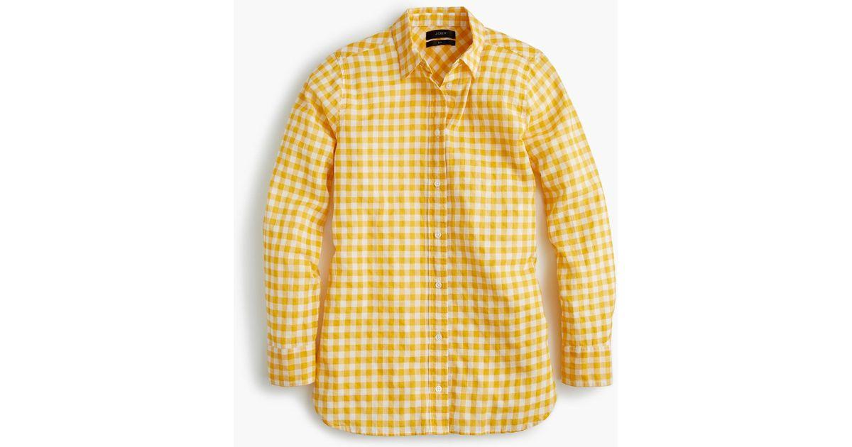 0c96b09bb3d J.Crew Tall Classic-fit Boy Shirt In Crinkle Gingham in Metallic - Lyst