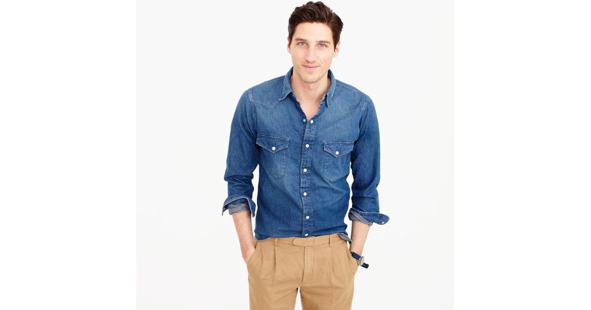 6196865ecd Lyst - J.Crew Chimala Western Denim Shirt in Blue for Men