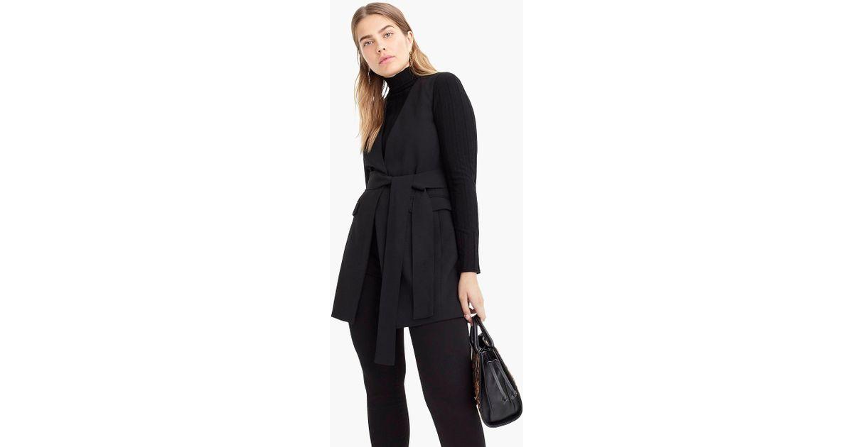 502747d632a4fd J.Crew Sleeveless Tie-waist Blazer In Everyday Crepe in Black - Lyst