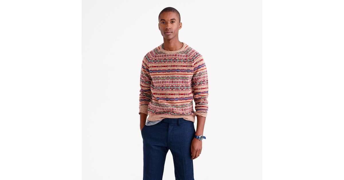 J.crew Lambswool Fair Isle Sweater In Honey in Red for Men | Lyst