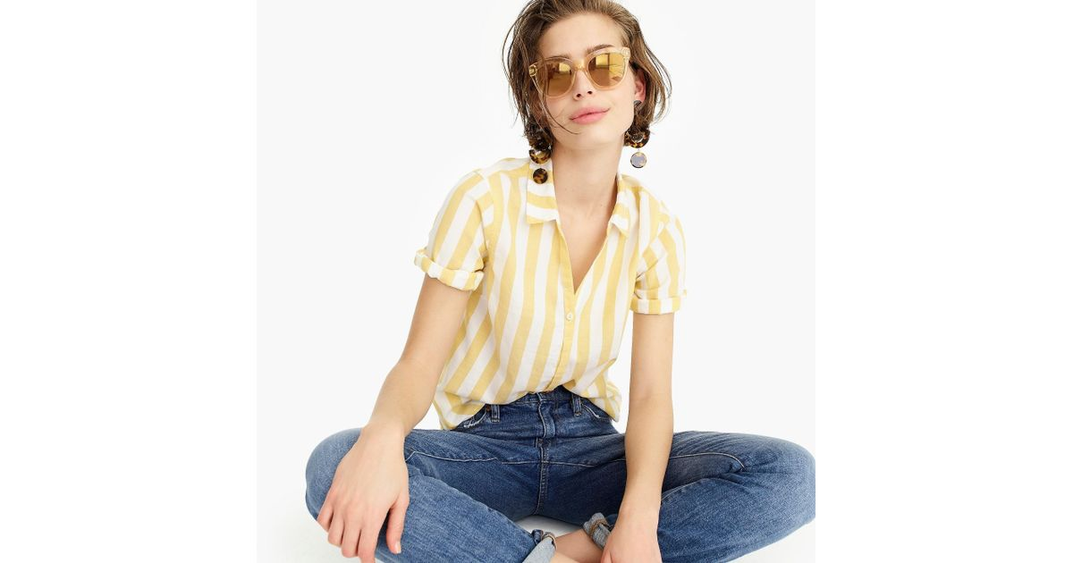 c63d2ad63 Lyst - J.Crew Petite Short-sleeve Button-up Shirt In Wide Stripe