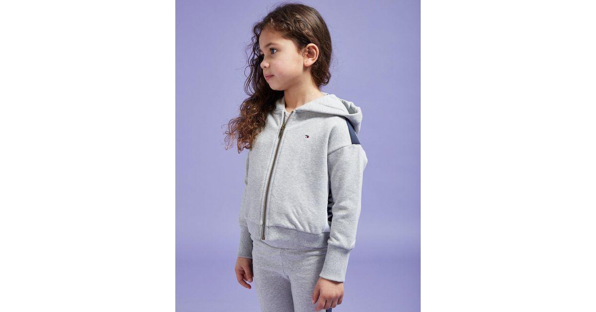 f3e191ac82c Tommy Hilfiger Girls' Logo Crop Full Zip Hoodie Children in Gray - Lyst