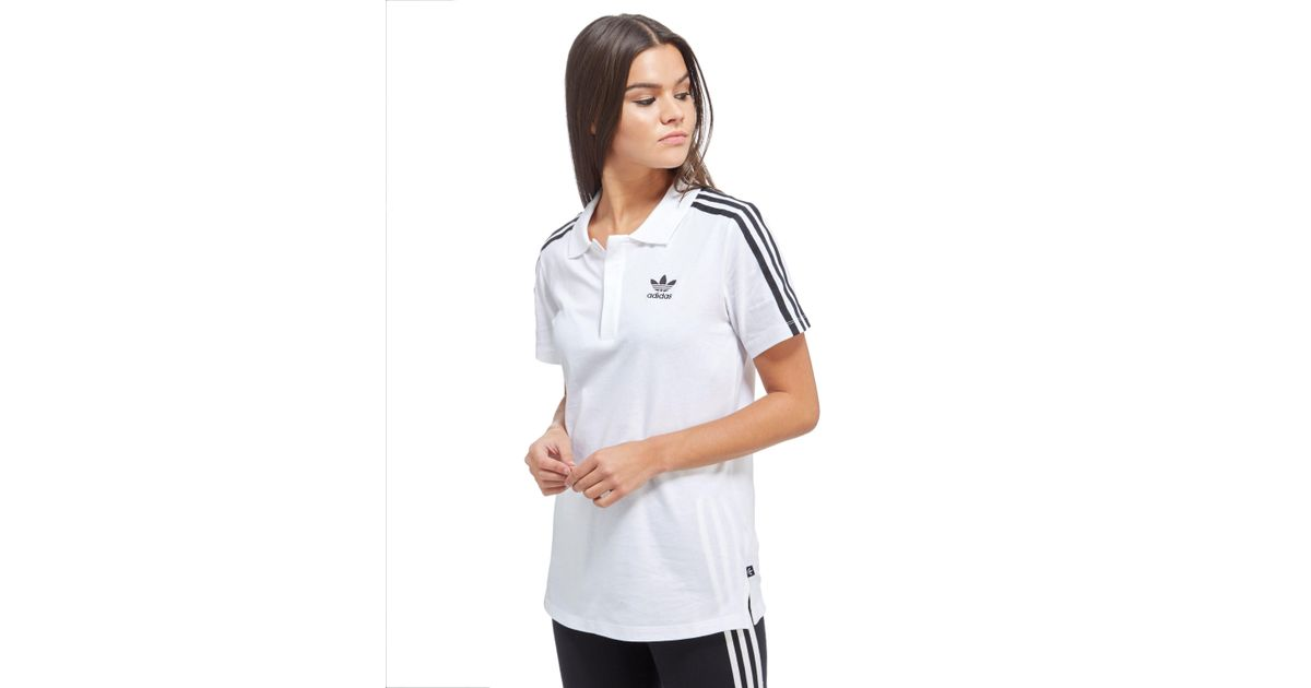 831a128a3 adidas Originals Three Stripe Polo Shirt in White - Lyst