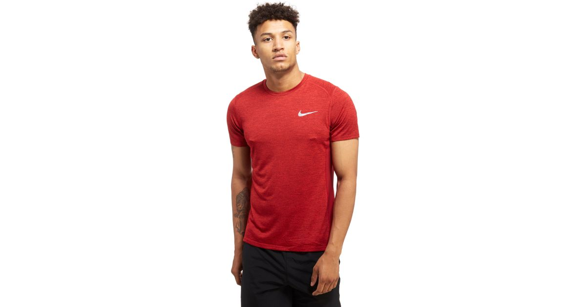Lyst Nike Miler Cool T Shirt In Red For Men