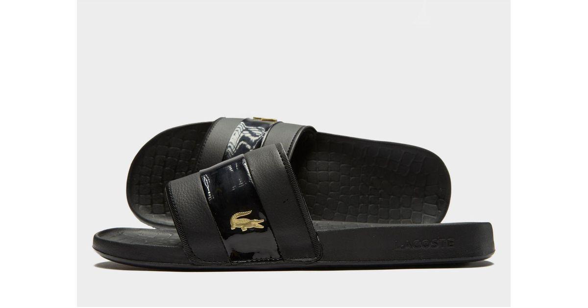 778e7b5bc11 Lacoste Frasier Deluxe Slides in Black for Men - Lyst